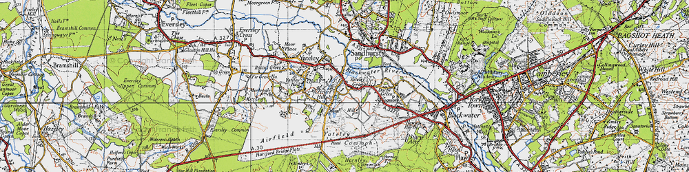 Old map of Yateley Common in 1940