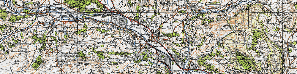 Old map of Crickhowell in 1947