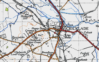 Old map of Cricklade in 1947