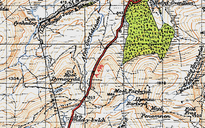 Old map of Afon Gorddinan in 1947