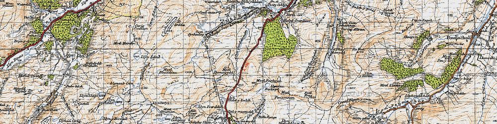 Old map of Afon Gorddinan in 1947