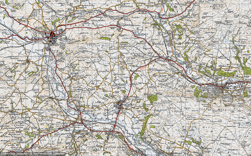 Old Map of Historic Map covering Bank End in 1947