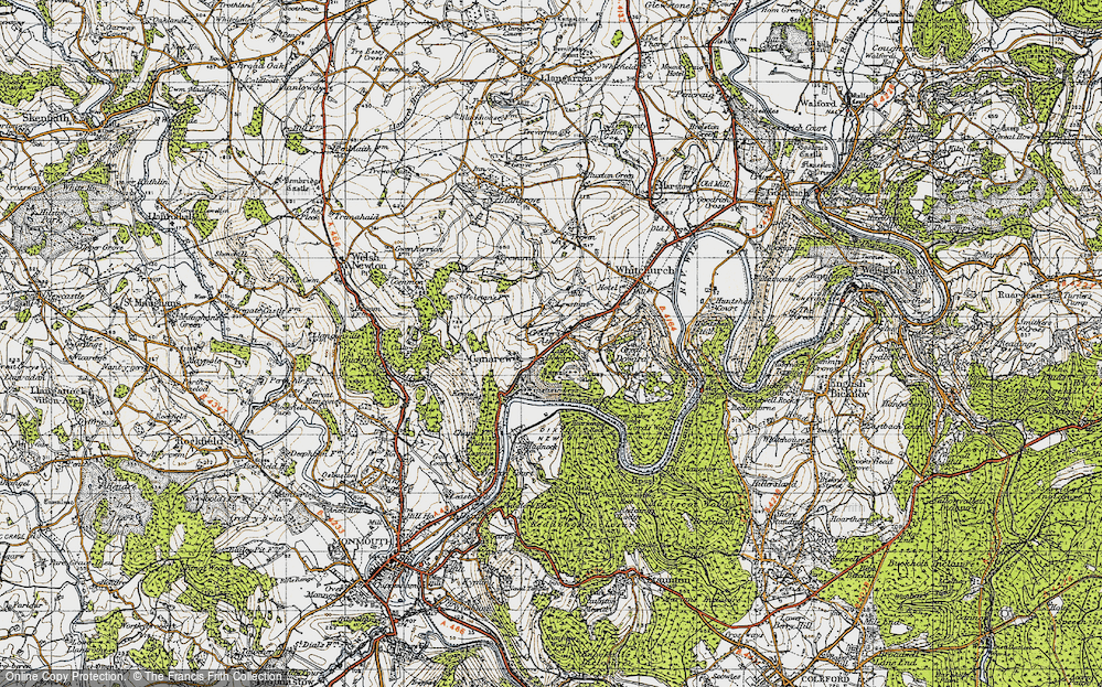 Old Map of Historic Map covering Lewstone in 1947
