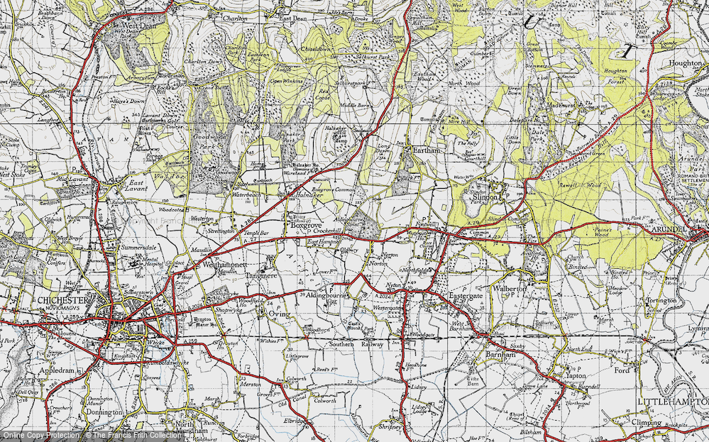 Old Map of Historic Map covering Aldingbourne Ho in 1940