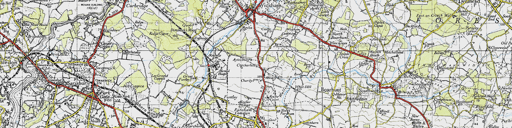 Old map of Wickham Common in 1945