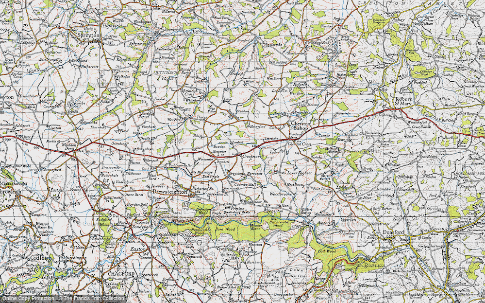 Old Map of Crockernwell, 1946 in 1946