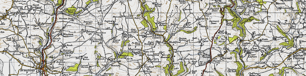 Old map of Whitefield Barton in 1946