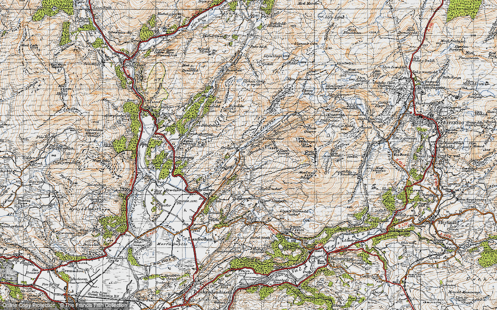 Old Map of Historic Map covering Afon Croesor in 1947
