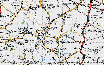 Old map of Croft in 1947