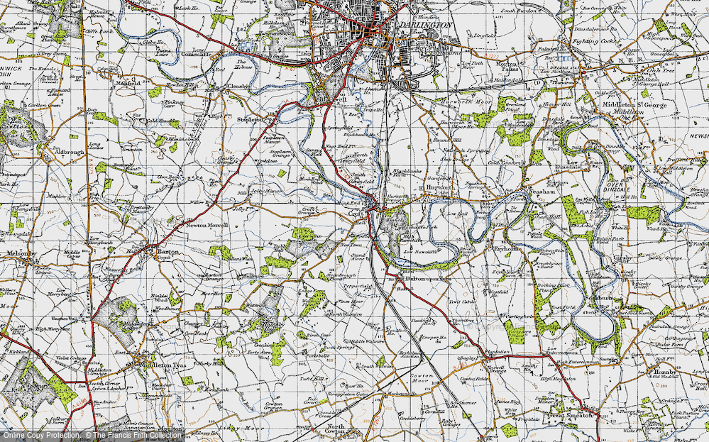 Old Map of Croft-on-Tees, 1947 in 1947