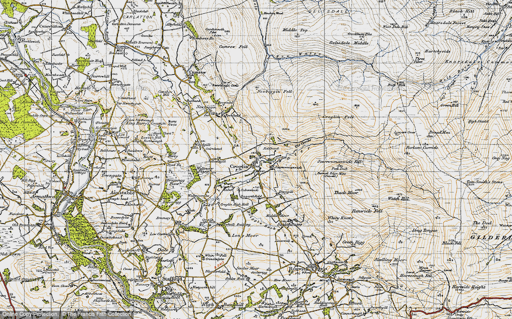 Old Map of Historic Map covering Woodgill Ho in 1947