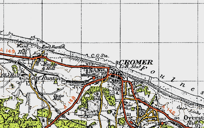 Old map of Cromer in 1945