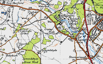 Old map of Cromer-Hyde in 1946