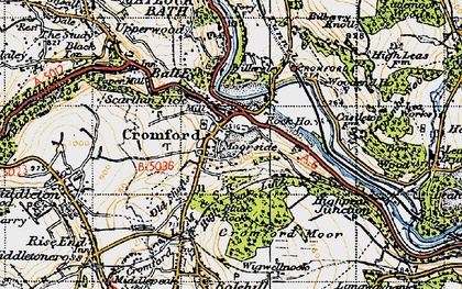 Old map of Cromford in 1947