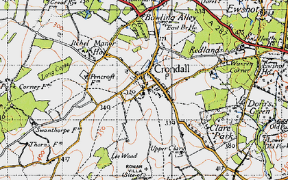 Old map of Crondall in 1940
