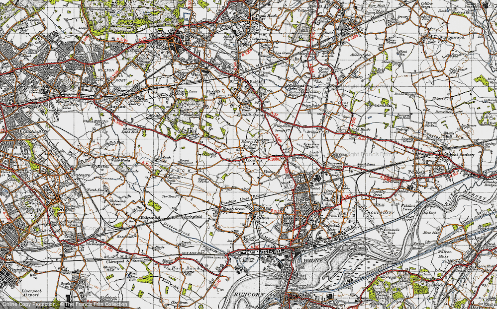 Old Map of Cronton, 1947 in 1947
