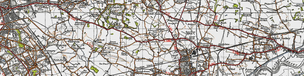 Old map of Cronton in 1947