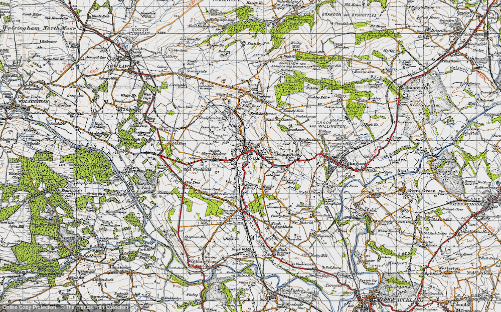 Old Map of Crook, 1947 in 1947