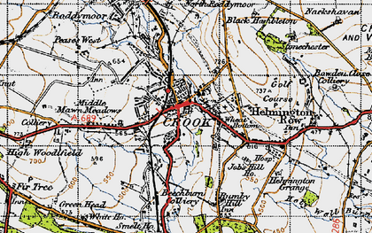 Old map of Crook in 1947