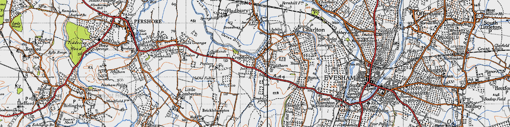 Old map of Cropthorne in 1946