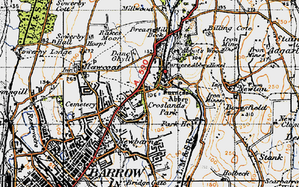 Old map of Furness Abbey in 1947