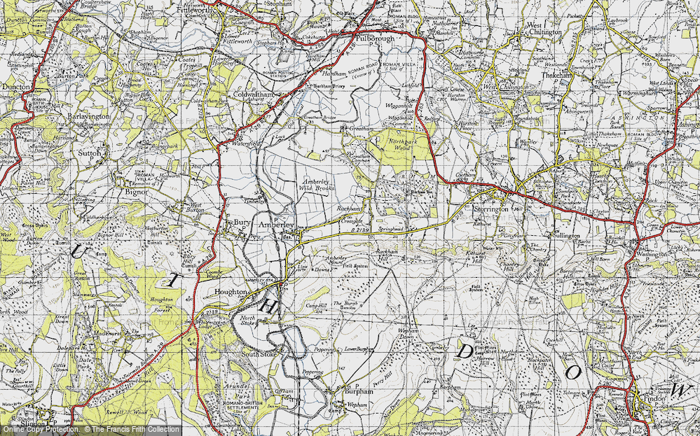 Old Map of Historic Map covering Amberley Mount in 1940