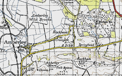 Old map of Amberley Mount (Tumuli) in 1940