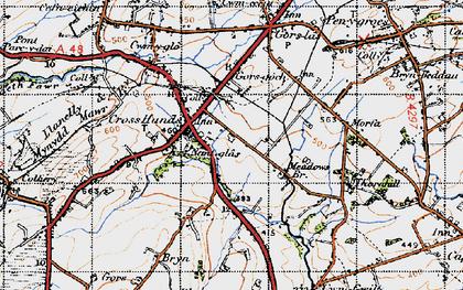 Old map of Cross Hands in 1947