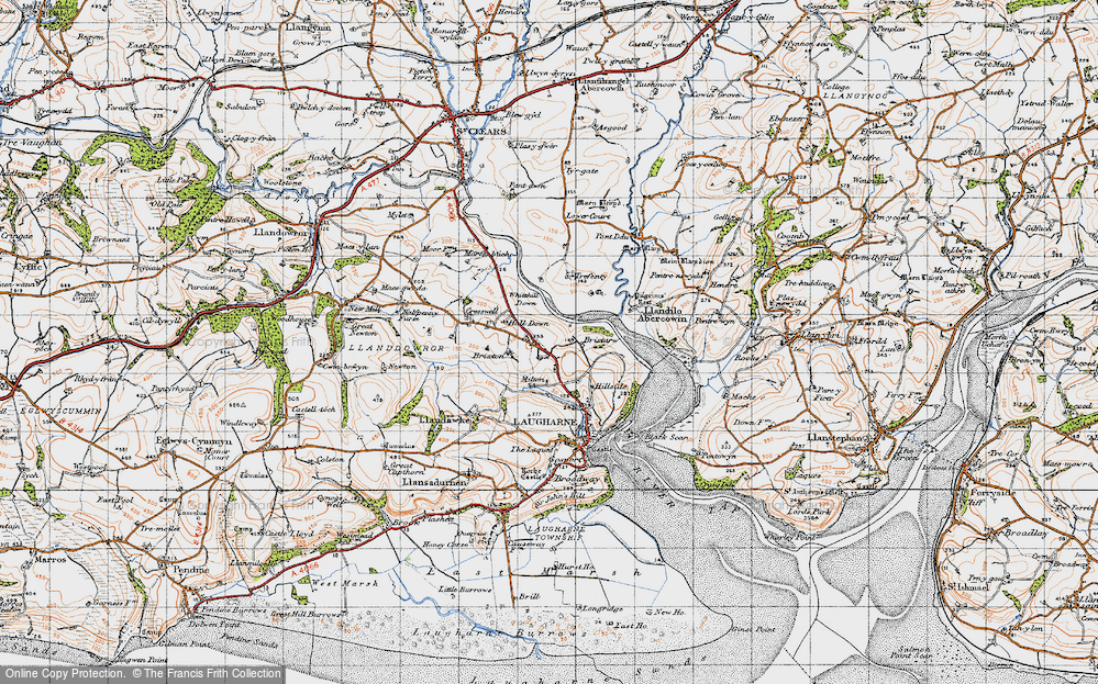 Old Map of Historic Map covering Lanfro in 1946