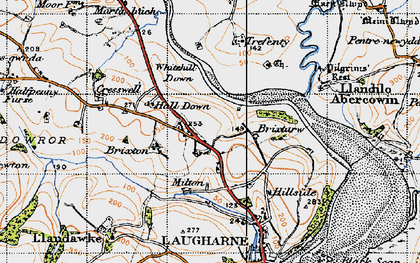 Old map of Lanfro in 1946