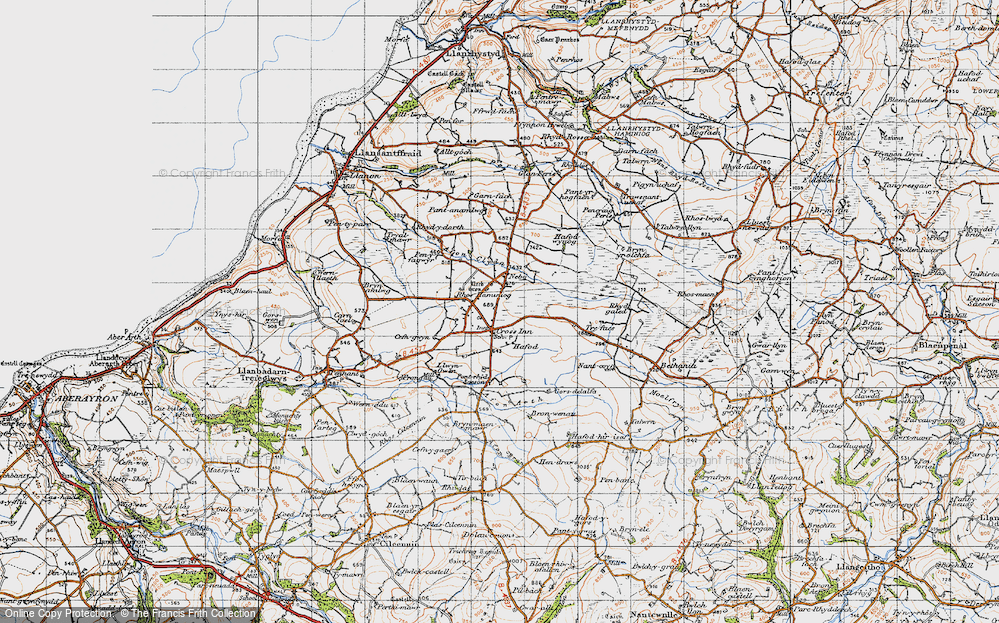 Old Map of Historic Map covering Afon Brân in 1947
