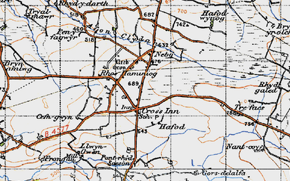 Old map of Afon Brân in 1947