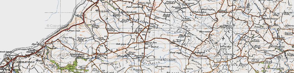 Old map of Afon Brân in 1947