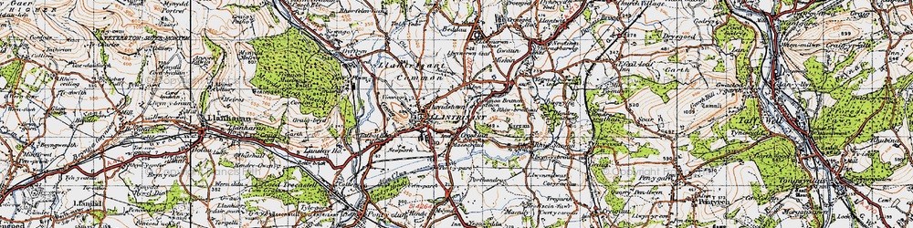 Old map of Afon Clun in 1947