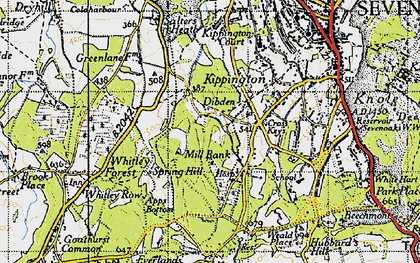 Old map of Whitley Forest in 1946
