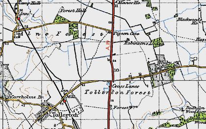 Old map of Tollerton Forest in 1947
