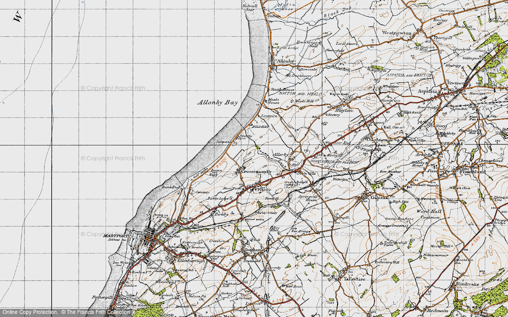 Old Map of Historic Map covering Allonby Bay in 1947