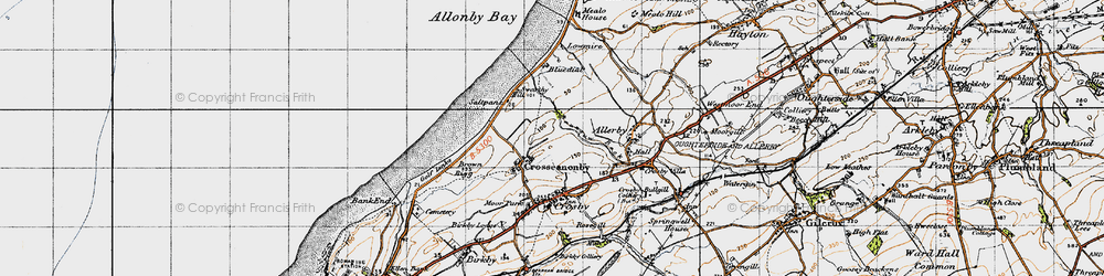 Old map of Allonby Bay in 1947