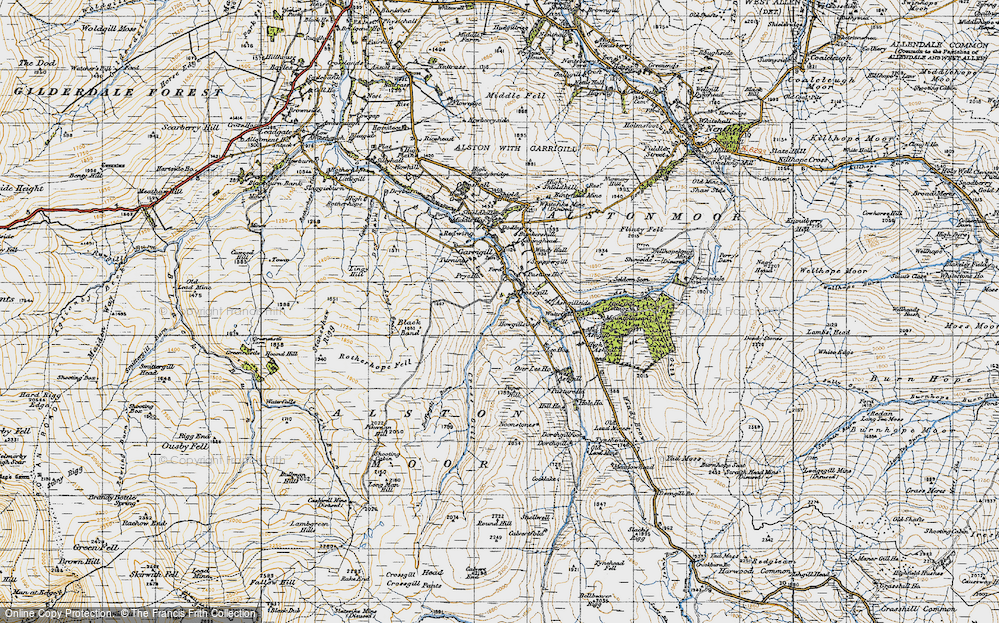 Old Map of Historic Map covering Ash Gill in 1947