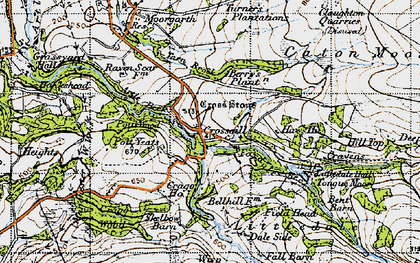 Old map of Baines Cragg in 1947