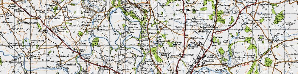 Old map of Alkmund Park Pool in 1947