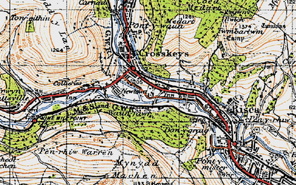 Old map of Crosskeys in 1947