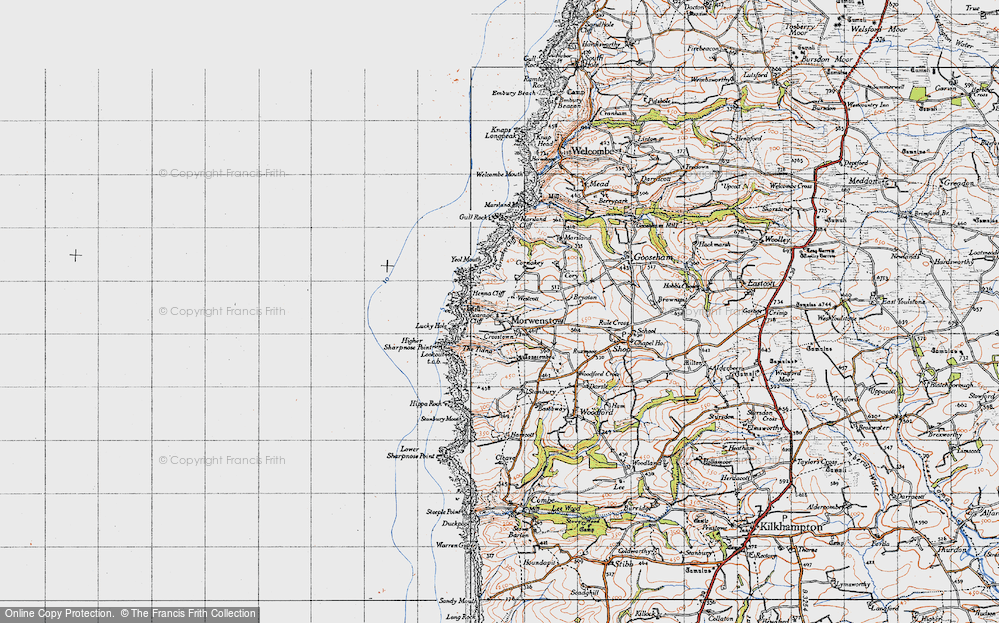 Old Map of Historic Map covering Tonacombe in 1946
