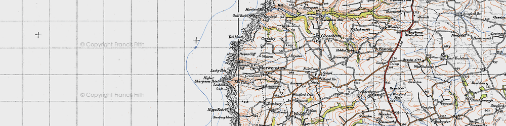 Old map of Tidna, The in 1946