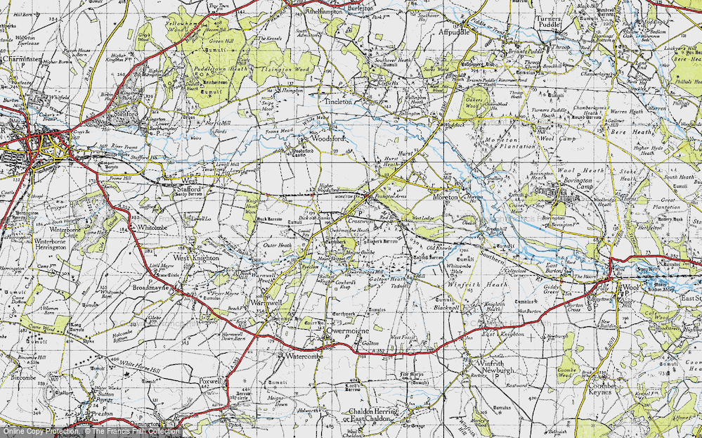 Old Map of Historic Map covering Tinker's Barrow in 1945