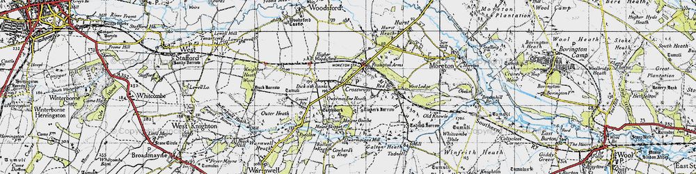 Old map of Tinker's Barrow in 1945