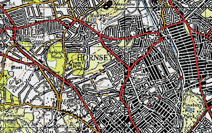 Old map of Crouch End in 1945
