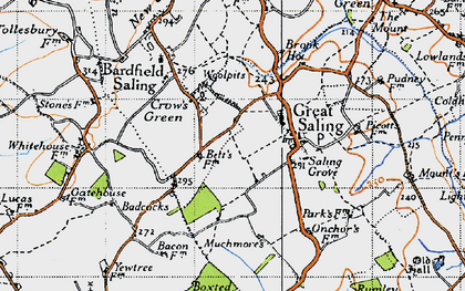 Old map of Woolpits in 1945