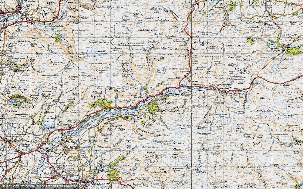 Old Map of Historic Map covering Woodhead Reservoir in 1947