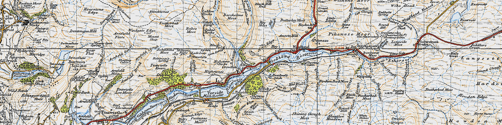 Old map of Wildboar Clough in 1947